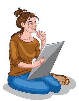 Молодая художница в коричневом свитере и синих джинсах думает об идее рисования