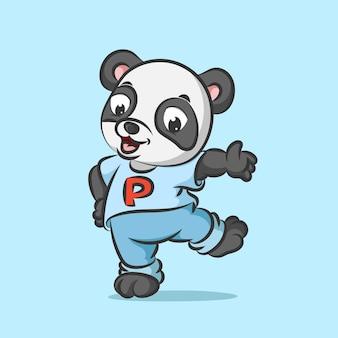 Молодая панда в повседневном костюме танцует