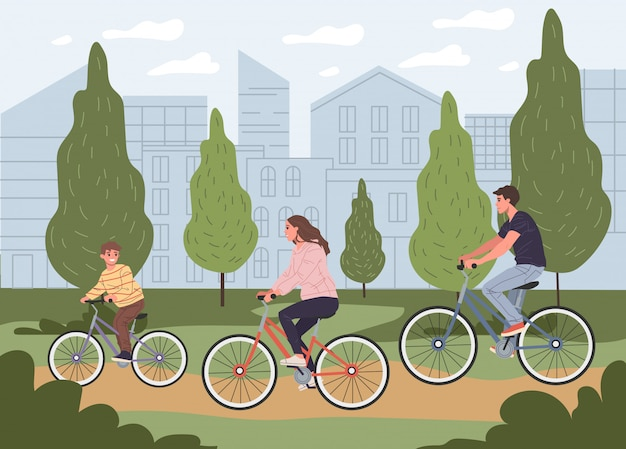 Young parent couple with son riding bikes