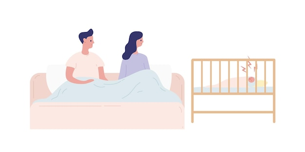 갓난 아기 벡터 플랫 삽화로 잠 못 이루는 밤을 보내는 젊은 부모. 어머니와 아버지는 흰색으로 격리된 우는 유아와 불면증 동안 침대에 누워 있습니다. 부모와 보살핌 개념입니다.