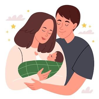 幸せな家族の親の子の概念を保持している若い親は、新しい生活の始まり