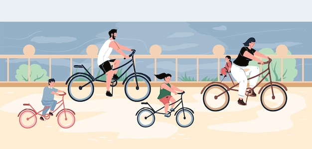 Young parents and kids riding bikes on embankment next to sea