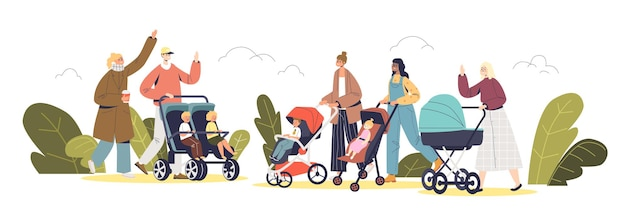 Young parents walking with newborn and preschool kids in carriages and strollers in park. happy families with small children outdoors. cartoon flat vector illustration