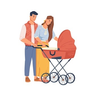Young parents walking with stroller flat cartoon people happy family having fun together