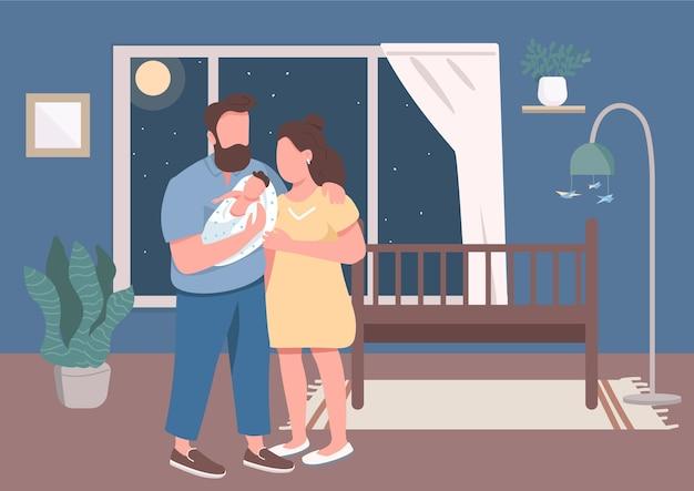 幼児のフラットカラーの若い親。男と女は揺りかごの近くで新生児を保持します。夜に家でカップル。背景にインテリアと子供2d漫画のキャラクターと妻と夫