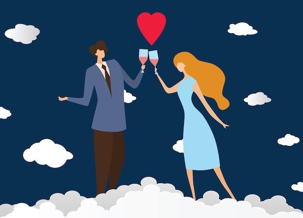 若い情熱的なカップルは、カフェでワインを飲む