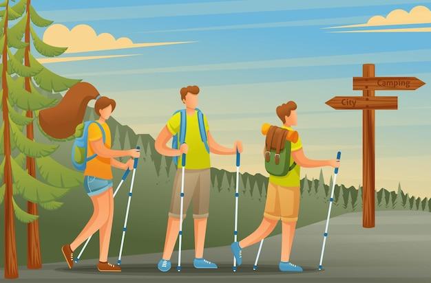 젊은 사람들은 적극적으로 휴일을 보내고, 노르딕 워킹은 숲속에서