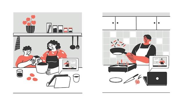 Молодые люди, взрослые, семья готовят еду дома с помощью ноутбука или планшета.