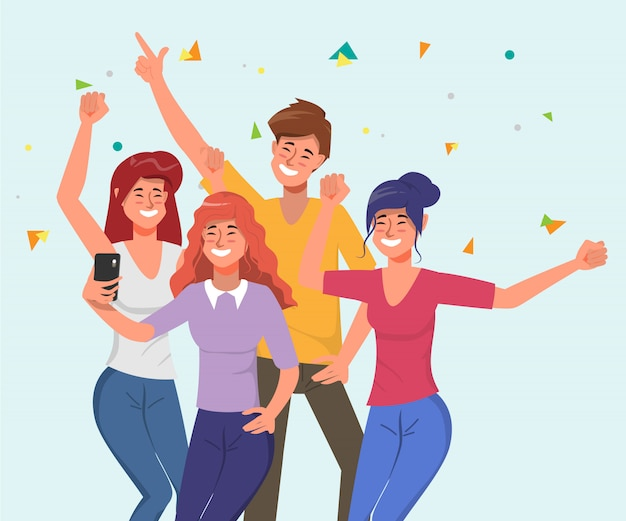 Young people are celebrate party with dancing and selfie together in holiday.