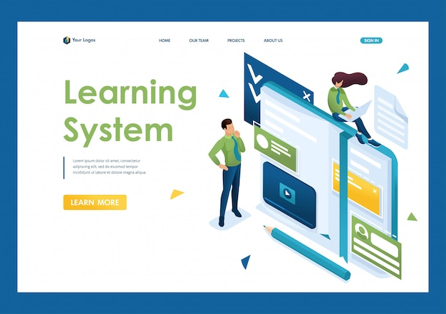 Young people are engaged in self-education, online training. concept of teaching people. 3d isometric. landing page concepts and web design
