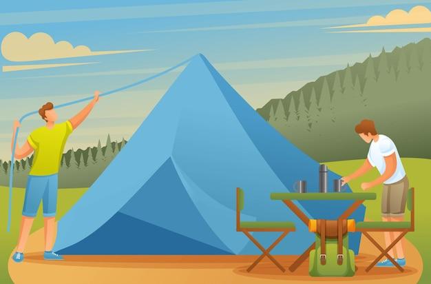 캠핑에서 젊은이들이 텐트를 세우고 음식을 준비합니다.