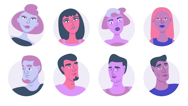Young people avatar icon set illustration