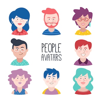 Young people avatar set