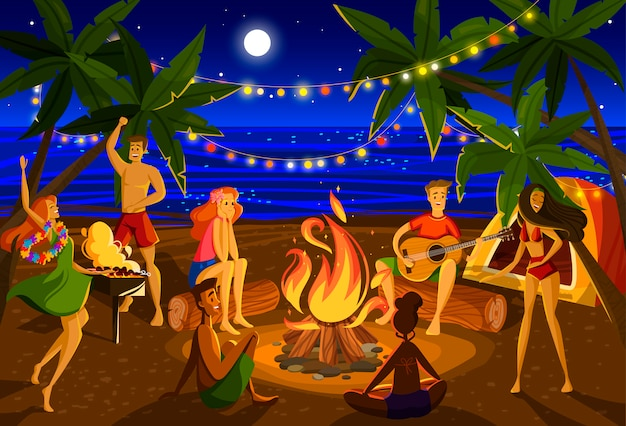 Young people at beach night party, cartoon characters around campfire on exotic island,  illustration