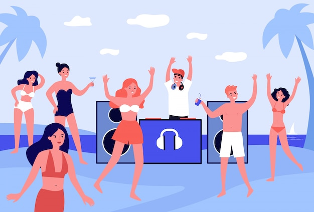 Young people at beach party flat vector illustration