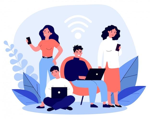 젊은 사람들은 노트북과 스마트 폰을 통해 온라인으로 탐색
