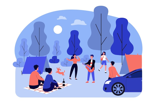 Young people camping in forest. guitar, nature, camp   illustration. summer vacation and adventure concept for banner, website  or landing web page