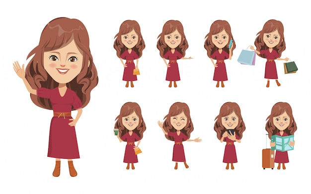 Young people character lifestyle set