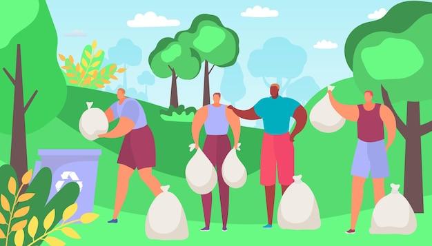 젊은 사람들 캐릭터 자원 봉사자 함께 청소 환경 보호 야외 숲을 청소 ...