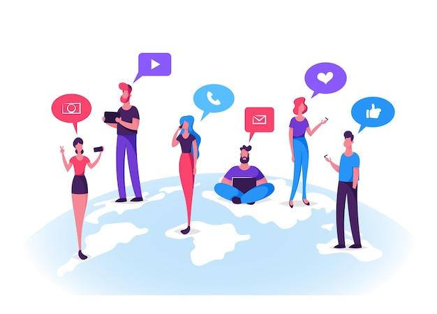 소셜 네트워크에서 채팅하는 젊은이 캐릭터.