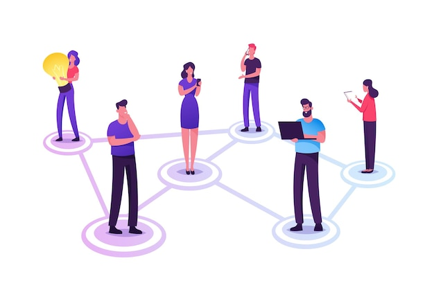 Young people characters chatting in social networks. cartoon flat illustration