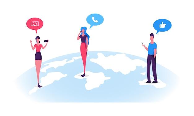 Персонажи молодых людей стоят на поверхности земного шара и болтают в социальных сетях