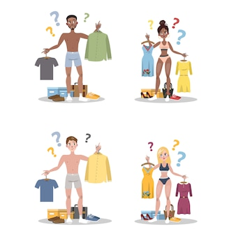 Молодые люди выбирают между двумя комплектом одежды. мужчина и женщина сомневаются, что надеть сегодня. иллюстрация