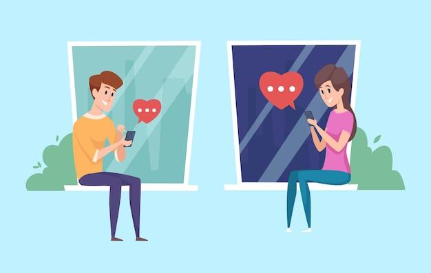 젊은이들은 의사 소통을합니다. 전화, 사랑의 메시지