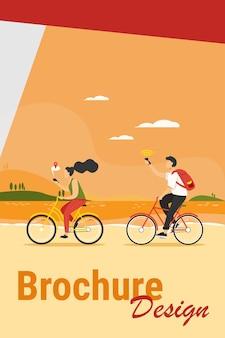 젊은 사람들은 자전거를 타고 스마트 폰을 사용합니다. 탐색, 자전거, 네트워크 평면 벡터 일러스트 레이 션. 여행 및 통신 개념