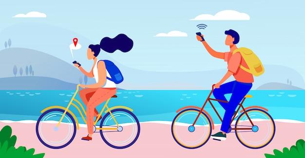 Молодые люди ездят на велосипеде и пользуются смартфонами