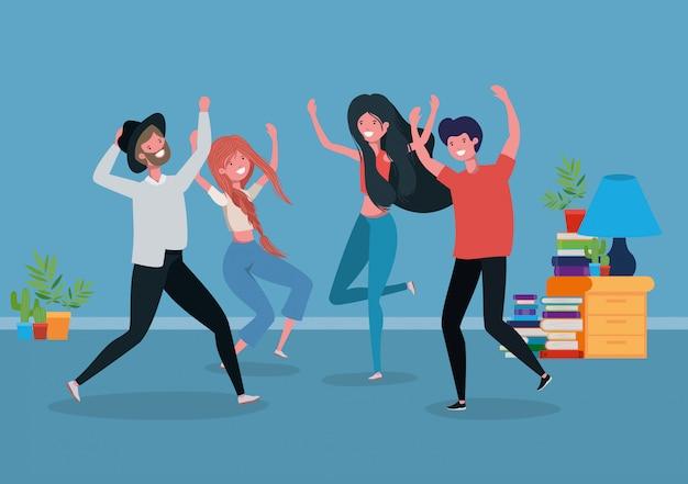 Молодые люди танцуют в гостиной