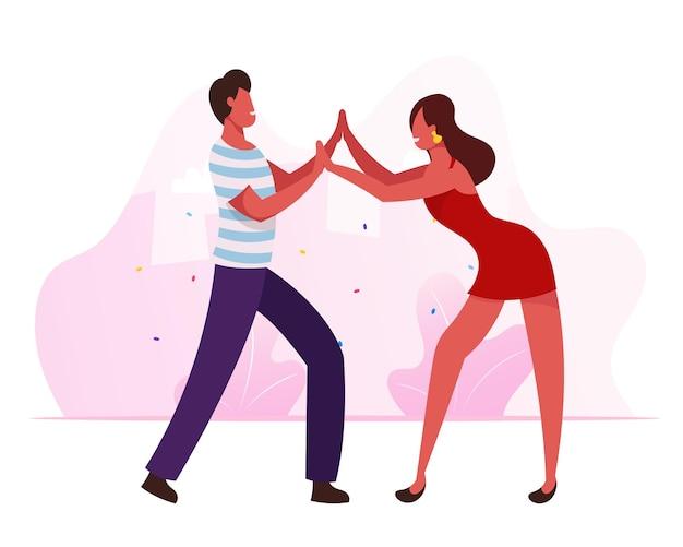 Молодые люди танцуют самбу на бразильской танцевальной дискотеке или карнавале в рио. мультфильм плоский иллюстрация
