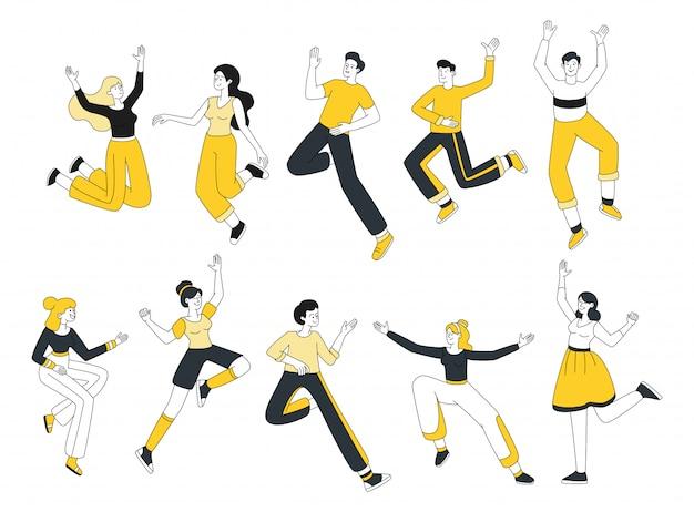 セットを踊る若者。カジュアルな服の漫画のキャラクターパックでうれしそうな男性と女性。興奮して、感情的なお祝いのデザイン要素でジャンプ陽気な人々