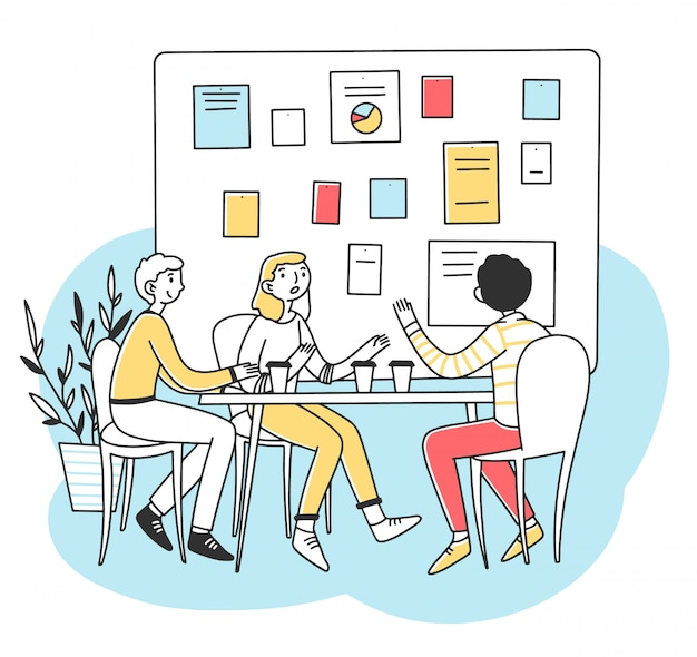 ビジネス開発図を議論する若者