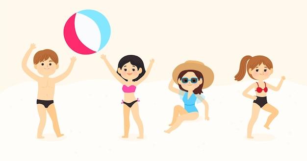 Giovani che fanno attività in spiaggia