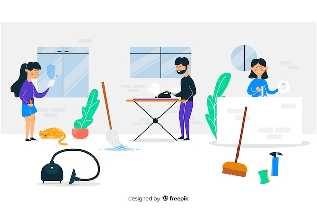 Young people doing chores illustrated