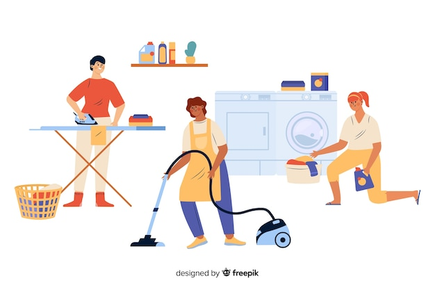 Young people doing housework