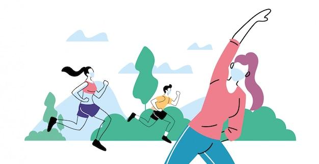 야외 공원에서 운동을하는 젊은 사람들, 건강한 라이프 스타일과 피트니스