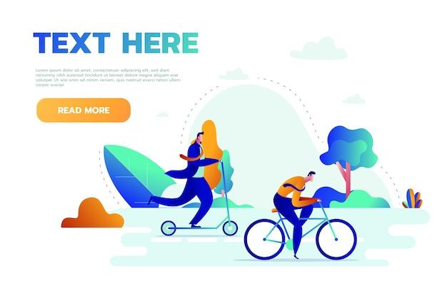 공원에서 야외에서 신체 활동을하는 젊은 사람들은 달리기, 자전거 타기 및 요가, 건강한 라이프 스타일 및 피트니스 개념을 연습하고 있습니다.
