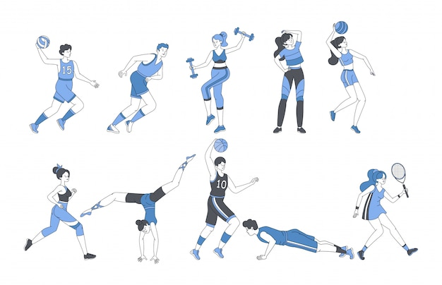 Молодые люди делают спортивные мероприятия фитнес тренировки или играть в спортивные игры.