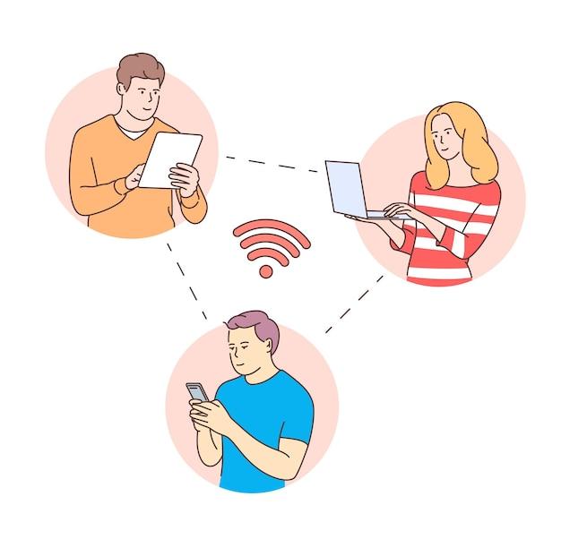 젊은 사람들은 온라인 소셜 미디어 커뮤니케이션 개념에 직면 해 있습니다. 태블릿 전화 노트북으로 남자 여자입니다.