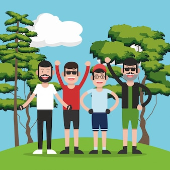 Young people on forest cartoon