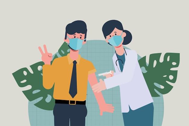 Молодым людям сделана вакцина против covid19, чтобы защитить себя от вируса