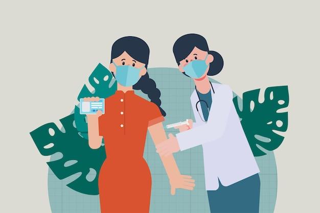 若者はウイルスから保護するためにcovid19ワクチンを入手します