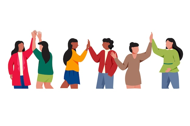 Young people giving high five illustrated