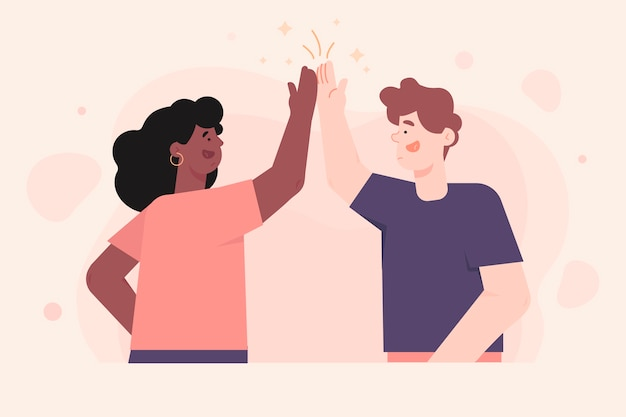 Young people giving high five illustrations collection