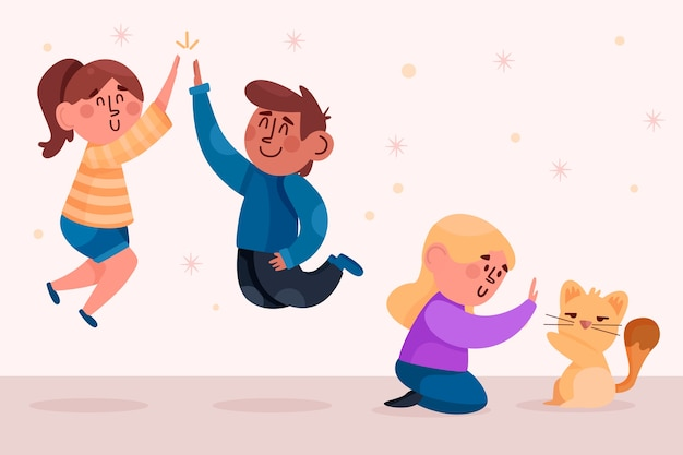 Молодые люди дают пакет с пятью иллюстрациями