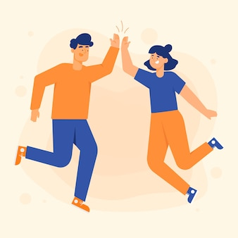 Young people giving high five illustrations set