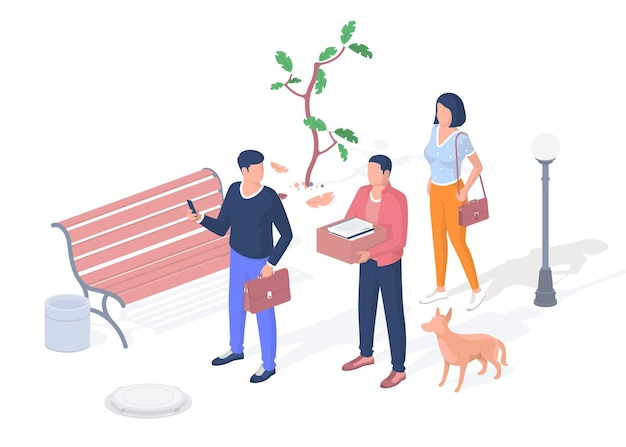 Young people go to classes at the university. students discussing scientific lecture. in hands of briefcase and box books. woman with bag goes class. vector realistic isometric illustration