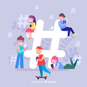 Young people hashtag concept background